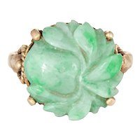 Vintage Carved Jade Flower Ring 14 Karat Yellow Gold Round Cocktail Jewelry Estate
