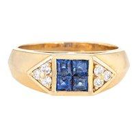 Sapphire Diamond Band Vintage 18 Karat Yellow Gold Pinky Ring Estate Fine Jewelry