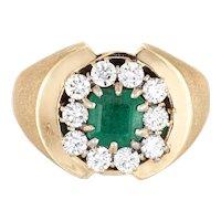 Emerald Diamond Ring Vintage 60s 14 Karat Yellow Gold Estate Fine Jewelry Sz 8.25