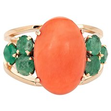 Apricot Coral Emerald Ring Vintage 18 Karat Yellow Gold Estate Fine Jewelry Sz 6.25