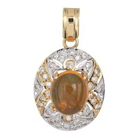 Mexican Fire Opal Diamond Pendant Vintage 14 Karat Yellow Gold Small Oval Jewelry