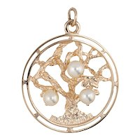 Tree of Life Pearl Pendant Charm Vintage 14 Karat Yellow Gold Fine Jewelry Round