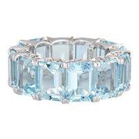 Aquamarine Eternity Ring Sz 5.75 18 Karat Estate Diamond Crescents Gemstone Band