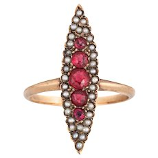 Antique Victorian Navette Ring Ruby Doublet Seed Pearl 14 Karat Yellow Gold Vintage