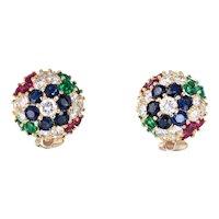 Gemstone Cluster Earrings Dome Vintage 18 Karat Yellow Gold Diamond Sapphire Ruby