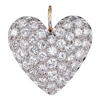 2ct Pave Diamond Heart Pendant Vintage 14 Karat Yellow Gold Estate Fine 1 Inch Large