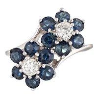 Sapphire Diamond Double Flower Ring Moi et Toi 14 Karat White Gold Vintage Jewelry 5