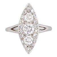 1.12ct Diamond Navette Ring Vintage 14 Karat White Gold Estate Fine Jewelry Sz 7