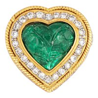 Carved Emerald Diamond Ring Vintage 18 Karat Yellow Gold Heart Cocktail Jewelry Sz 7