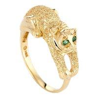 Kitty Cat Ring Emerald Eyes Estate 14 Karat Yellow Gold Sz 6 3/4 Fine Animal Jewelry