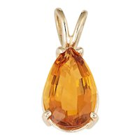 Pear Cut Citrine Pendant Vintage 14 Karat Yellow Gold Estate Fine Jewelry Warm Orange