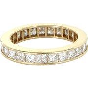 3ct Diamond Eternity Ring Sz 7.5 Vintage 14 Karat Yellow Gold Estate Fine Jewelry