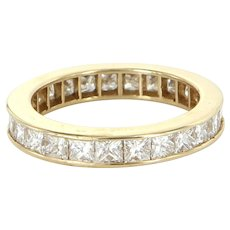 3ct Diamond Eternity Ring Sz 7.5 Vintage 14 Karat Yellow Gold Estate Fine Jewelry