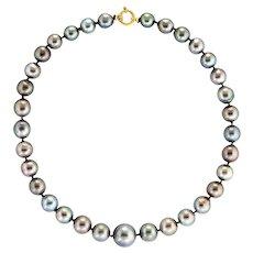Tahitian Cultured Black Pearl Necklace Graduated 10mm to 15.5mm 18 Karat Gold Estate