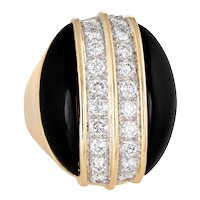 Large Onyx Diamond Ring Vintage 18 Karat Yellow Gold Oval Cocktail Jewelry Sz 4