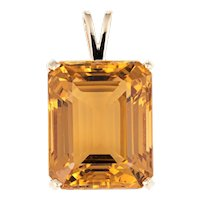 Large 37ct Citrine Pendant Vintage 14 Karat Yellow Gold Emerald Cut Estate Jewelry