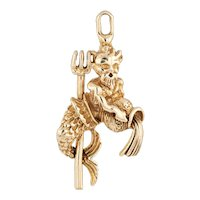 Poseidon Charm Vintage 14 Karat Yellow Gold King Neptune Pendant Estate Jewelry