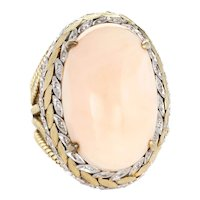 Angel Skin Coral Diamond Ring Vintage 14 Karat Yellow Gold Large Oval Wreath Design