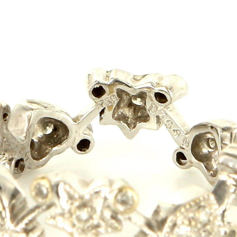 estate 18 karat white gold diamond heart star eternity