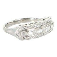 Vintage Art Deco Diamond Anniversary Ring 14 Karat White Gold Estate Fine Jewelry 6.5