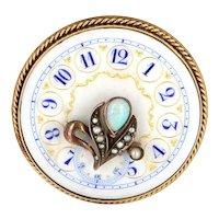 Vintage Clock Face Brooch Pin 14 Karat Gold Opal Pearl Estate Fine Jewelry Heirloom