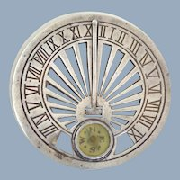Early Sterling Silver Sundial Compass As Is