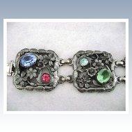 Vintage Open Work Floral Five Panel Rhinestone Bracelet