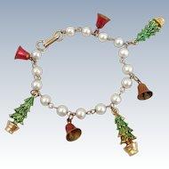 Vintage Christmas Trees & Jingle Bells Charm Bracelet