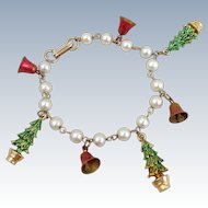 Vintage Christmas Trees & Jingle Bells Charm Bracelet