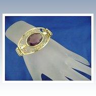 Vintage VICTORIA Huge Amethyst Glass Expansion Bracelet