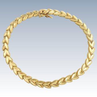 Estate 10k Gold Double Leaf Bracelet