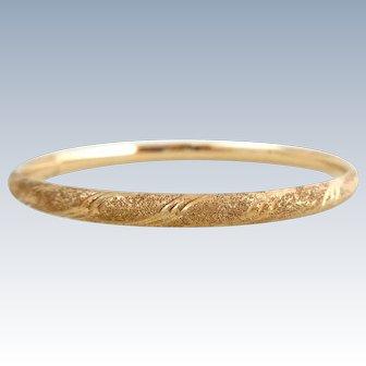 Estate 14K Rose Gold Textured Bangle Bracelet