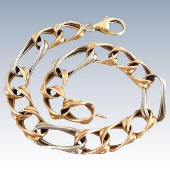 Estate 14K Rose White Gold Italian Twisted Figaro Bracelet