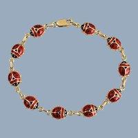Italian 14K Yellow Gold & Enamel Good Luck Ladybug Bracelet
