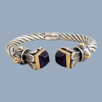 Vintage Italy 925 18K Sugarloaf Amethyst Cable Cuff Bracelet