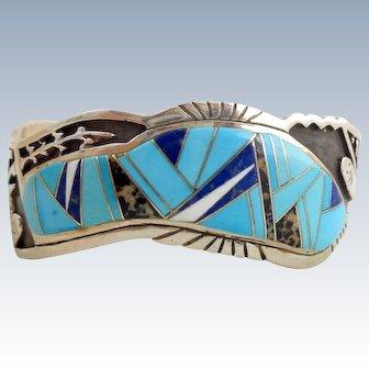 Native American Navajo CALVIN BEGAY Sterling Silver Multi Stone Inlay Cuff Bracelet