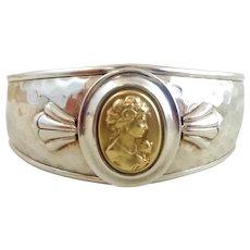 Vintage Italian Sterling Silver 14k Gold Cameo Cuff Bracelet