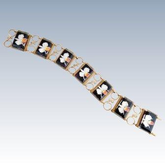 Vintage Reverse Carved Lucite Orchid Link Bracelet