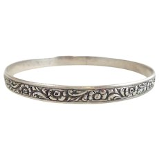 Early DANECRAFT FELCH Sterling Silver Floral Leaf Bangle Bracelet
