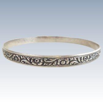 Early DANECRAFT FELCH Sterling Silver Floral Leaf Bangle Bracelet