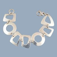 ED LEVIN Sterling Silver Modernist Geometric Links Bracelet
