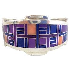 Native American Navajo FRANK YAZZIE Sterling Silver Inlay Cuff Bracelet