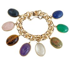 Magnificent Vintage Scarabs Gemstone Gold Filled Charm Bracelet