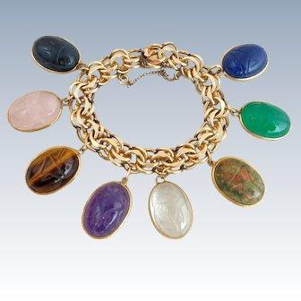 Magnificent Vintage Scarabs Gemstone Gold Filled Charm Bracelet
