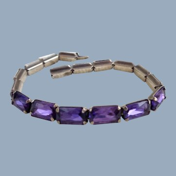 Early LEACH & MILLER Purple Stone Sterling Link Bracelet