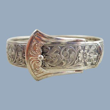 1930's Art Deco MARSH Sterling Silver Engraved Buckle Bracelet