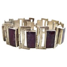 Vintage Modernist TILO Mexico Sterling Silver Purple Stone Link Bracelet
