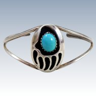 Native American Sterling Silver Turquoise Bear Paw Cuff Bracelet