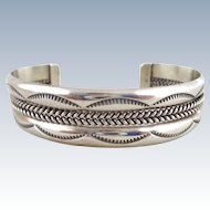 Native American Navajo TAHE Double Cable Sterling Silver Cuff Bracelet