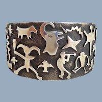 Native American Danny ROMERO Sterling Silver Overlay Pictograph Cuff Bracelet